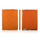 ENKAY ENK-3129 Stylish PU Leather + PC Foldable Case for Ipad 2 / 4 / New Ipad - Orange