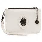 Lady's Elegant Handy PU Leather Coin Zipper Purse w/ Carrying Strap - White