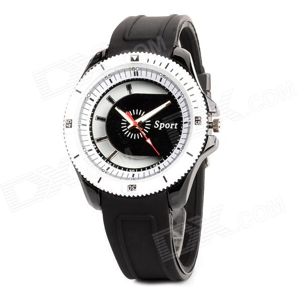 Men's Speed Dial Style Analogue Quartz Wrist Watch w/ Silicone Band - Black + White (1 x 377) men s silicone band big square dial quartz wrist watch black golden 1 x 377
