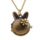 Kid's Cute Rabbit Style Analogue Quartz Flip-open Pocket Watch w/ Neckchain - Bronze (1 x 377)