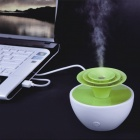 Potted Plant Style Mini Ultrasonic USB Powered Air Humidifier - Green + White (90ml)