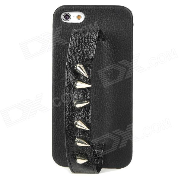 MXZ-006 Protective PU Leather Rivet Handheld Back Case for Iphone 5 - Black stylish protective pu leather case for iphone 5c white transparent black