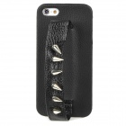 MXZ-006 Protective PU Leather Rivet Handheld Back Case for Iphone 5 - Black