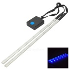 Bicycle Decorative 14-LED Blue Light 3-Mode Lamp Strips - White + Black (2 x AAA / Pair)