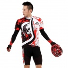 Veobike Men's Cycling Suit Short Sleeve Sweat Nylon Suit - Black + Red + White (Size XL)