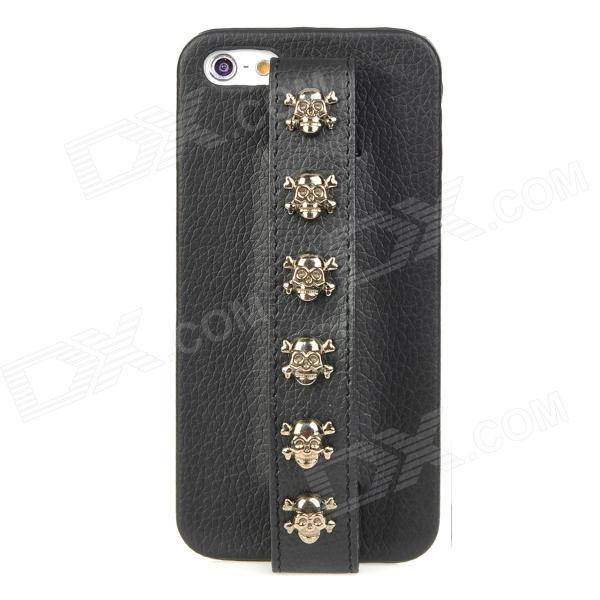 MXZ-005 Protective PU Leather Skull Handheld Back Case for Iphone 5 - Black stylish protective pu leather case for iphone 5c white transparent black