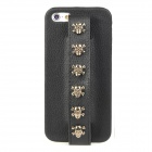 MXZ-005 Protective PU Leather Skull Handheld Back Case for Iphone 5 - Black