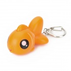Mini Cute Fish White LED Keychain w/ Sound Effect - Orange (3 x AG10)