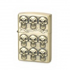 KANTAI Skull Patterns Pinchbeck Alloy Kerosene Oil Lighter - Antique Brass