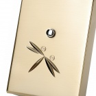 Windproof Dragonfly Pattern Touch Style Electronic Induction Butane Jet Lighter - Golden