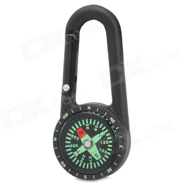 Durable Zinc Alloy Quick-Release Carabiner Clip w/ Compass - Black