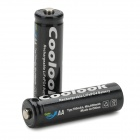Coolook AA 3.2V 700mAh Rechargeable LiFePO Battery - Black + White (2 PCS)
