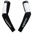 VEOBIKE V-05 Elastic Smooth Sports Riding Arm Sleeves - Black + White (Size XL / Pair)