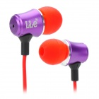 R E LLe Stylish Aluminum Alloy Stereo In-Ear Earphones - Purple + Red (3.5mm Plug / 135cm-Cable)