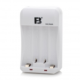 FB FB-15 4 x AA/AAA Battery Charger Ni-MH Ni-Cd Batteries- White + Black