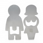 Creative Girl & Boy Shaped Stainless Steel Bottle Opener - Silver (2 PCS)