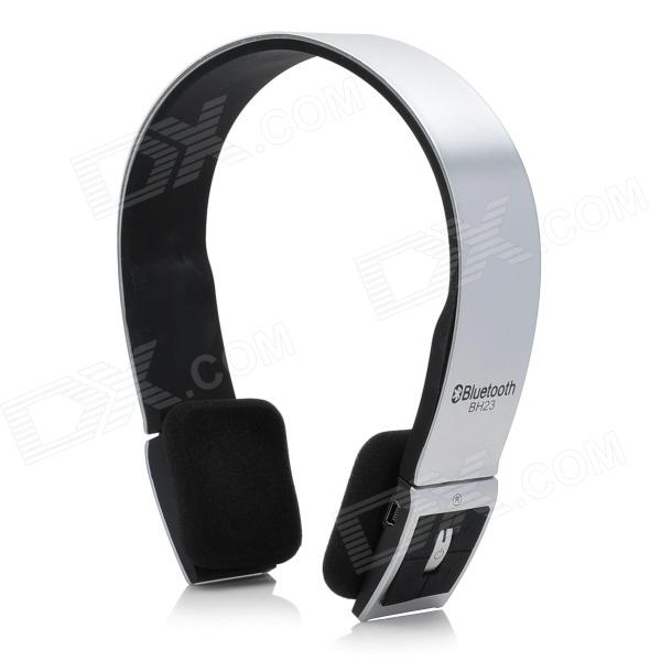 BH23 Bluetooth V3.0+ERD Handsfree Stereo Headset w/ Microphone - Silver + Black