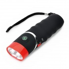 Posefly XC233180 Hand Crank 2-LED White Light Flashlight w/ Compass - Black + Red