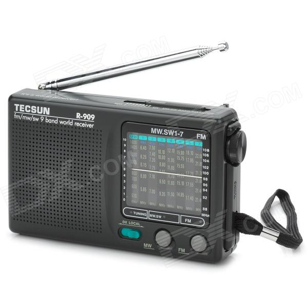 TECSUN R-909 Portable FM / MW / SW Multiband AM / FM Radio Receiver - Black (2 x AA) tivdio portable fm radio dsp fm stereo mw sw lw portable radio full band world receiver clock