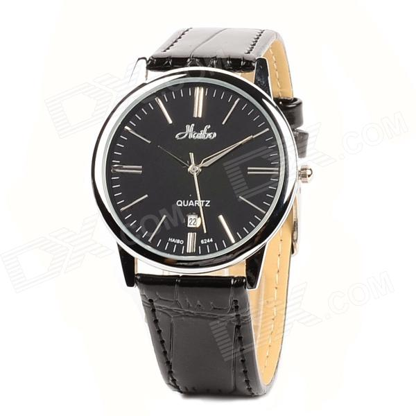 HAIBO 6244-B Men's Ultrathin Analogue Quartz Wrist Watch w/ Calendar Display - Black (1 x LR626)
