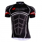NUCKILY AJ207 Men's Short Sleeve Cycling Coat - Black + White (Size L)