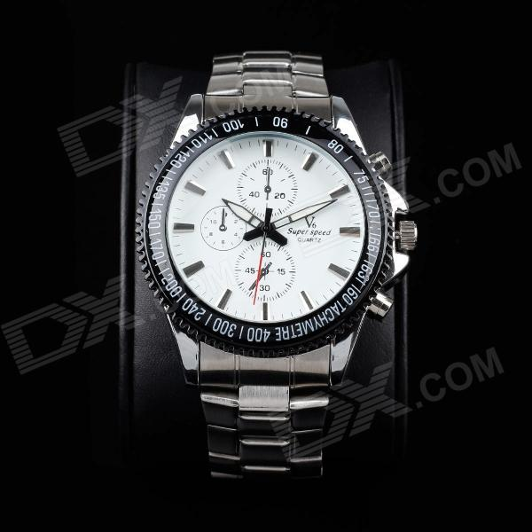 Super Speed V6 A005-WS Stylish Men's Quartz Wrist Watch - Silver + White + Black (1 x LR626) v6 super speed v007 fashion pu leather band quartz men s wrist watch black silver 1 x lr626