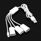 Compact Multifunction Male USB 2.0 to Lightning & 3 x Famle USB Connector Extension Cable - White