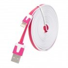 Male USB to Lightning Data Sync & Charging Flat Cable for iPhone 5 - Purple + Orange + White (300cm)