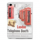 London Telephone Booth Pattern Protective PU Leather Flip-Open Case for iPad Mini - Grey + Red