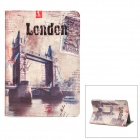 London Tower Bridge Pattern Protective PU Leather Smart Case w/ Holder Stand for Ipad MINI - Gray
