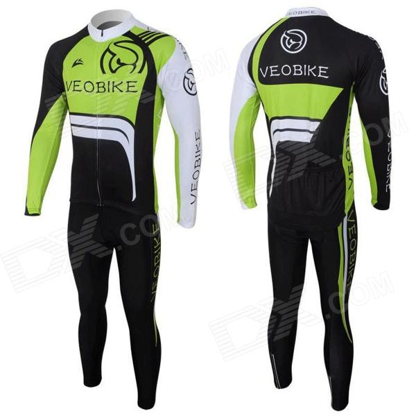 Veobike Ghost Men's Cycling Sweat Suit - Black + Green + White (Size L)