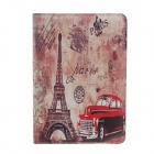 Eiffel Tower Pattern Protective PU Leather Smart Case for iPad Mini - Purple + Black + Red