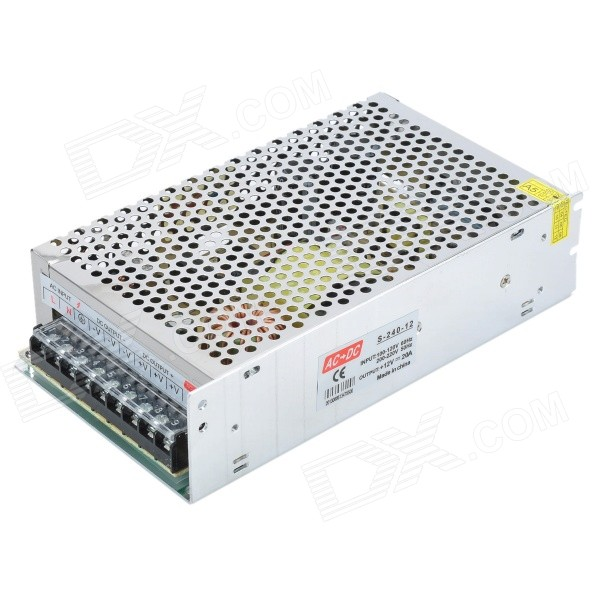 AC 100~240V to DC 12V 20A 240W Power Converter for LED Light - Silver + Green rs232 to rs485 converter with optical isolation passive interface protection