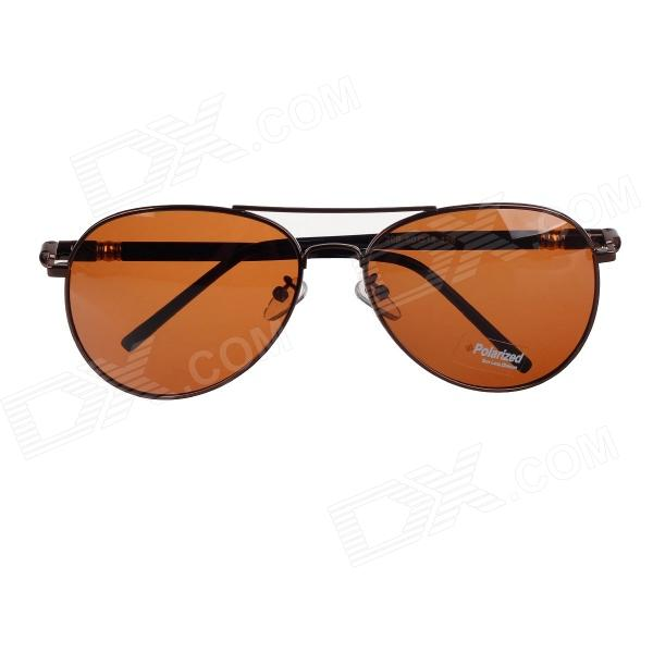 209 Classic UV400 Protection Polarized Sunglasses - Dark Brown + Black carshiro 9150 uv400 protection resin lens polarized night vision driving glasses