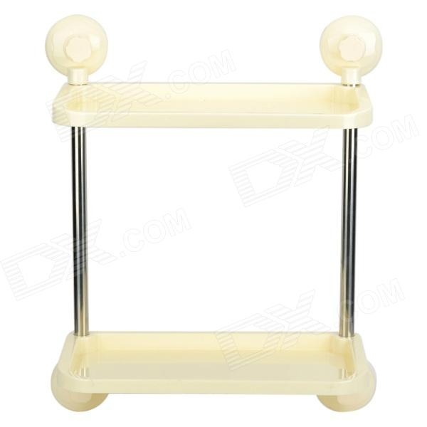 BWJ2515 Two-Layer Kitchen Bathroom Goods Management Rack w/ Suction Cups - Beige + Silver silver color stainless steel adjustable kitchen bathroom office furniture cabinet shelves legs feets pack of 4 50x180mm