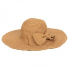 Leisure Lady's Foldable Double-layer Straw Sun Hat w/ Bowknot - Brown