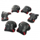 3-in-1 Knee + Elbow + Wrist Guard Pad Set for Skiing / Skateboarding - Red + Black (Size L)
