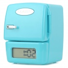 "Cute Mini Fridge Style 1.7"" LCD Alarm Clock w/ FM Radio - Blue (2 x AAA)"