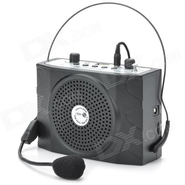 Multi-function Waist Hanging Amplifier w/ FM / TF Card / USB / Mic - Black + Silver Grey portable professional 2 4g wireless voice amplifier megaphone booster amplifier speaker wireless microphone fm radio mp3 playing