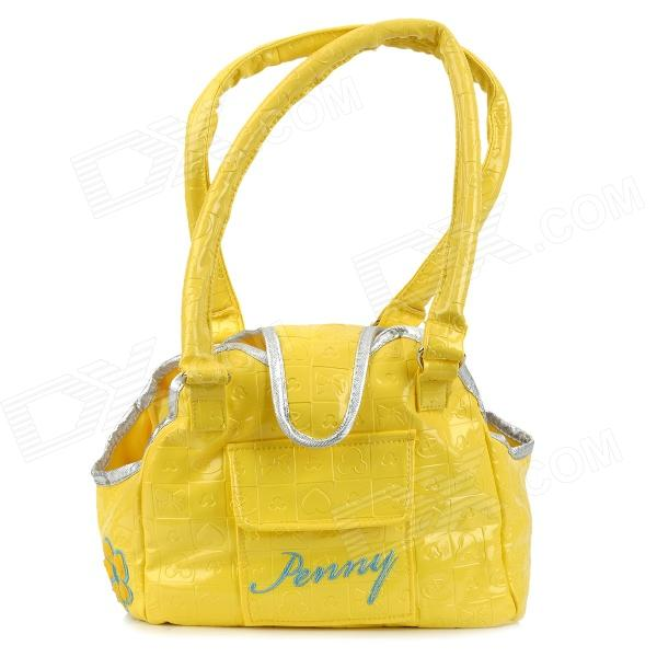 FH-02 PU Pet's Dog Cat Outdoor Carrying Bag - Yellow (Size S) striped travelling carrying bag for cats small