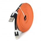 Male USB to Lightning Data Sync & Charging Flat Cable for iPhone 5 - Black + Orange + White (300cm)