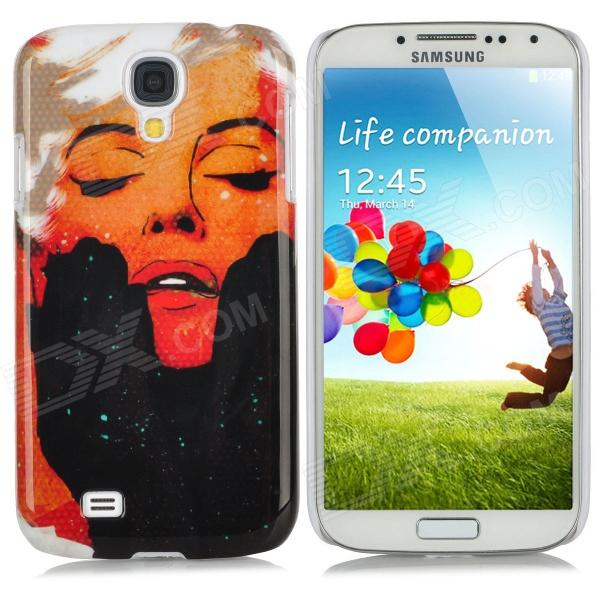 Cool Lady Pattern Protective Plastic Back Case for Samsung Galaxy S4 i9500 - Red + Black + White protective cute spots pattern back case for samsung galaxy s4 i9500 multicolored