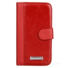 Protective PU Leather Cover Plastic Hard Back Case for Samsung Galaxy Grand Duos i9082 - Red + Black