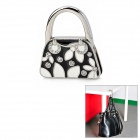 XTD-001 Zinc Alloy Foldable Bag Hanger Hanging Hook w/ Rhinestone - Black + White + Silver