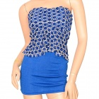 Sexy Fashionable Women's Three-Dimensional Rose Pattern Strapless Dress - Blue