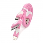 3-in-1 USB Male zu Apple 30pin / Blitz / Micro-USB-Kabel für iPhone 5 / 4S + More - Pink (17 cm)