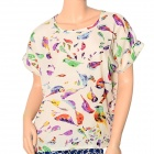 Women's Fashionable Birdie Pattern Chiffon Dolman Sleeved T-shirt - Beige (L)