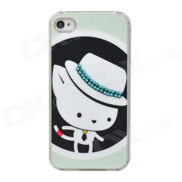 Cute Hat Mouse Pattern w/ Shiny Crystal Plastic Back Case for Iphone 4S / 4 - White + Light Blue cute girl pattern protective rhinestone decoration back case for iphone 5 light pink light blue