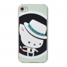 Cute Hat Mouse Pattern w/ Shiny Crystal Plastic Back Case for Iphone 4S / 4 - White + Light Blue