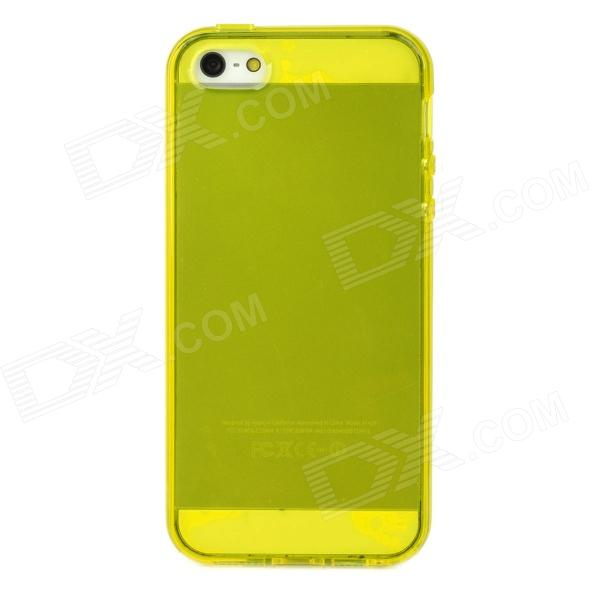 Protective TPU Back Case w/ Antidust Plugs for Earphone Jack & Charging Dock for Iphone 5 - Yellow